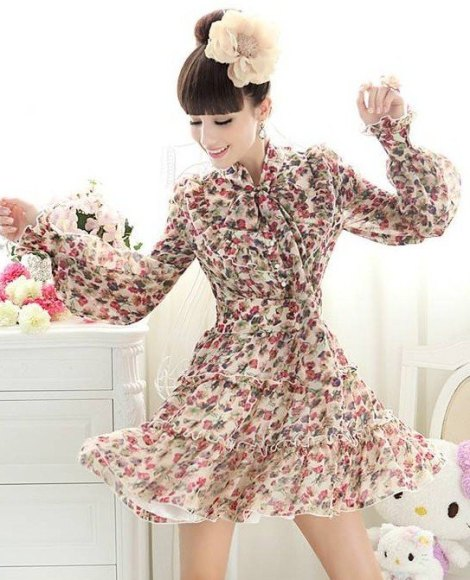 Floral-Chiffon-fashion-slim-dress