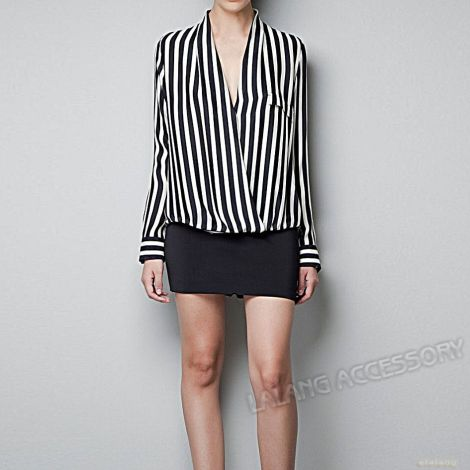 New-Hot-Sale-1pcs-Ladies-Long-Sleeve-Chiffon-font-b-White-b-font-Balck-font-b
