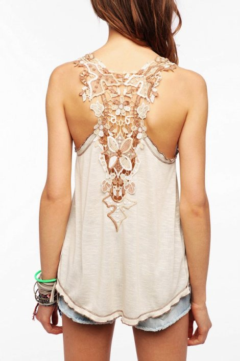 crochet back tank top - fashion tank top for women-f49948