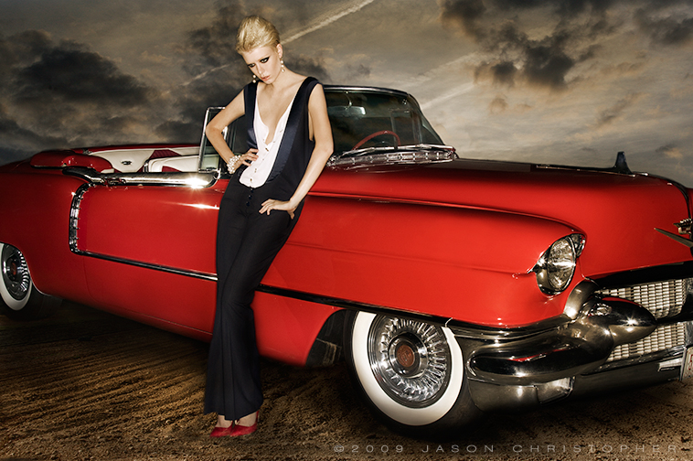 fashion-model-red-cadillac