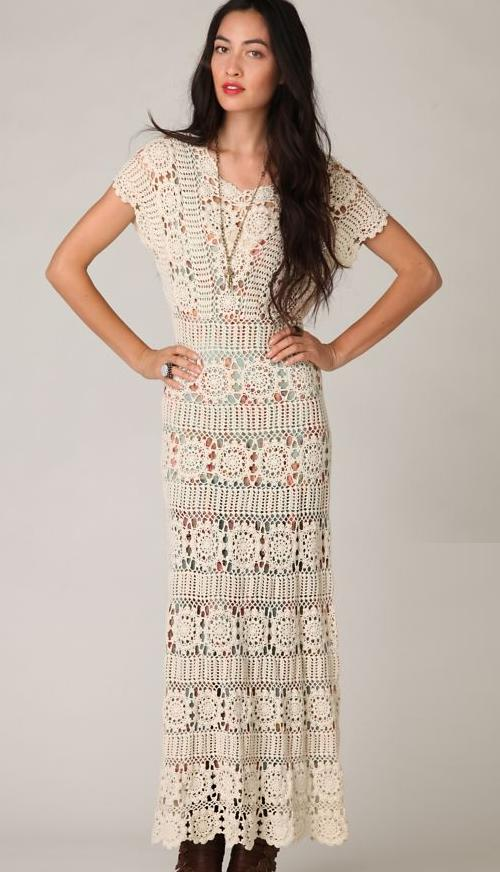 Folklore Style - Hand Crochet Maxi Dress