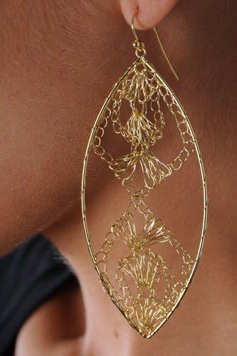 Lobao - 18-Karat Gold Plated Long Tear Crochet Earrings