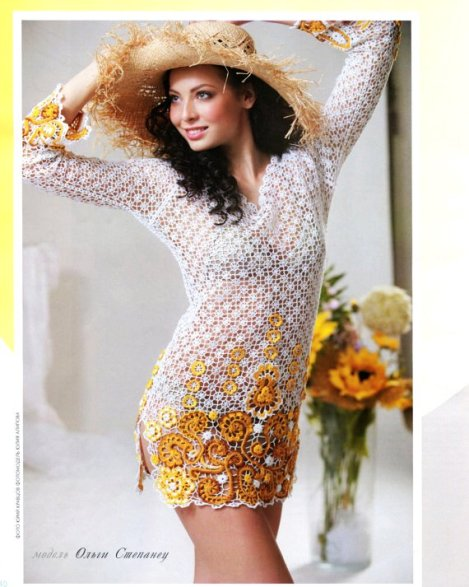 russian crochet knitting patterns book bruges irish lace dress top cardigan fashion magazine 556-f53055