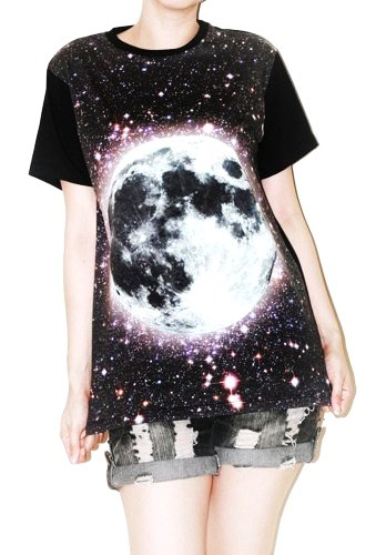 full moon galaxy universe space star cluster photo rock t-shirt size m  sumspaceshop - clothing on a-f22207