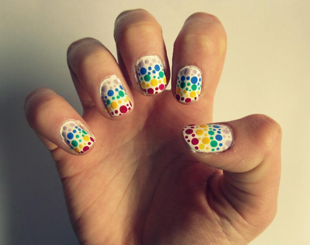 dotty nail art tutorial easy dotting tool cute polish cutepolish rainbow stripes spots easy free blog (2)