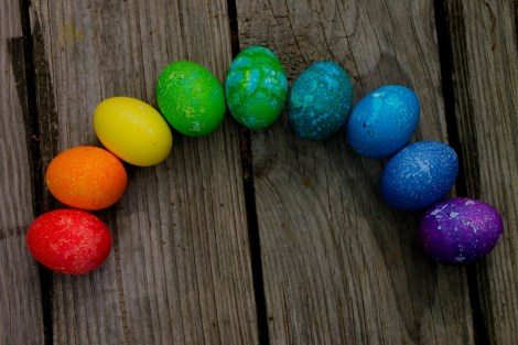 Easter Egg Rainbow dyed in crescent on decking