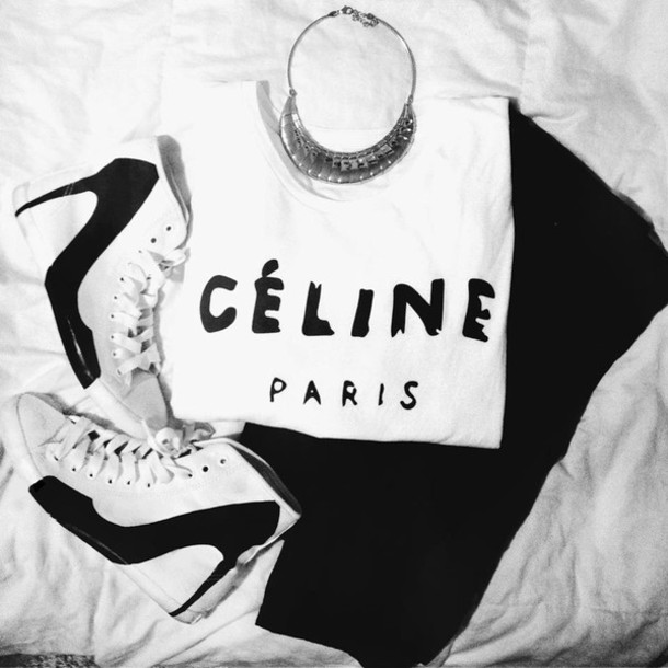 289bsh-l-610x610-shoes-fashion-sneakers-heel-celine-paris-black-white-ootd-big-city-be-d-b-w-black-and-white-high-top-sneaker-t-shirt