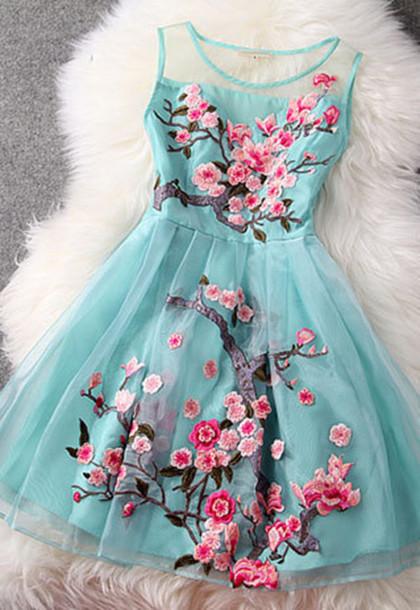 waetmj-l-610x610-dress-blue-lace-rose-cherry-blossom-blossom-aqua-fashion-cocktail-dress
